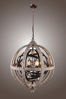 Orlando Globe Chandelier Wood Metal Crystal Pendant Lamp Lustre