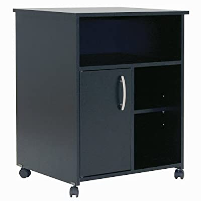 South Shore Fiesta Microwave Cart with Storage on Wheels, Pure Black - Plastic handle in a silver finish; for a contemporary style 3 open storage spaces: one large and two smaller ones on the side; separated by an adjustable shelf Behind the door: 2 closed storage spaces; separated by an adjustable shelf - sideboards-buffets, kitchen-dining-room-furniture, kitchen-dining-room - 41g6IpLrDuL. SS400  -