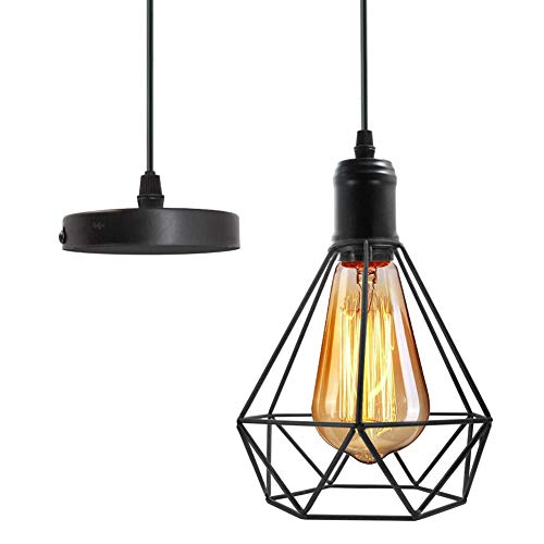- Polygon Pendant Lighting Geometric Hanging Lamp Light Fixture Vintage Loft Hanging Wire Ceiling Light Metal Cage.