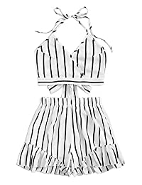 SweatyRocks Women's 2 Piece Outfit Striped V Neck Knot Front Crop Top with Shorts