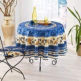 FRED OLIVIER Nappe Provençal Anti Taches 100% Polyester Tournesol Abeille Bleu Couleur Bleu, Format Ronde, Dimension 180