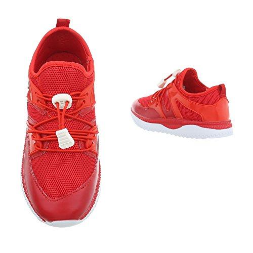 Ital-Design Freizeit Turnschuhe/Sneakers Kinderschuhe Freizeit Turnschuhe/Sneakers Jungen Schnürsenkel Freizeitschuhe Rot