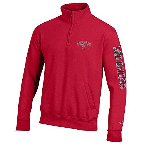 (Elite Fan Shop Texas Tech Red Raiders Quarter Zip Sweatshirt Letterman Scarlet - XL)