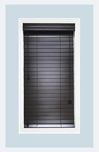 Delta Blinds Supply Custom-Made, Premium Real Wood Horizontal Window Blinds, 2 Inch Slats, Black, Inside Mount