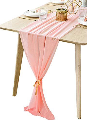BOXAN Gorgeous Pink Table Runner 30x120 Inch for Pink Rose Romantic Wedding Decor, Bridal Shower, Baby Shower, Birthday Party Cake Table Decorations ()