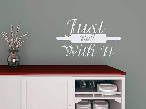 N.SunForest Wall Decals Just Roll with It Quote Rolling Pin Vinyl Sticker Kitchen Decor Aa96