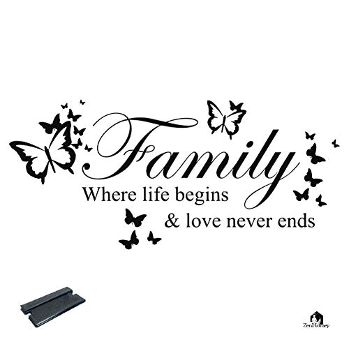 Vinyl Wall Decals Quotes | Inspirational Wall Decor Sticker | Wall Murals Peel and Stick | Vinyl Wall Art Home Decor Quote Stickers | Family Where Life Begins & Love Never Ends | Squeegee Included