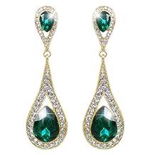Ever Faith Wedding Art Deco Teardrop Austrian Crystal Clear Dangle Earrings