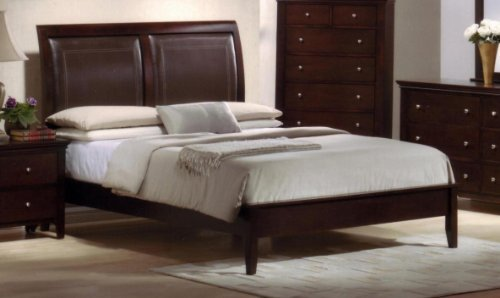 Roundhill Furniture Le Charmel Wood and Bonded Leather Padded Bed, King, Cherry Finish