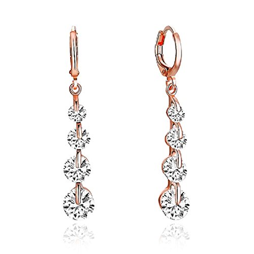 LiveSublime Rose Gold Brilliant Cut Austrian Crystal Drop Dangle Earrings - Earrings Crystal Brilliant Austrian