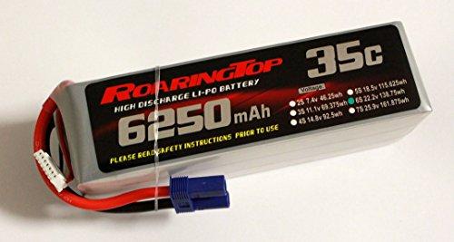 RoaringTop LiPo Battery Pack 35C 6250mAh 6S 22.2V with EC5 Plug for RC Car Boat Truck Heli -