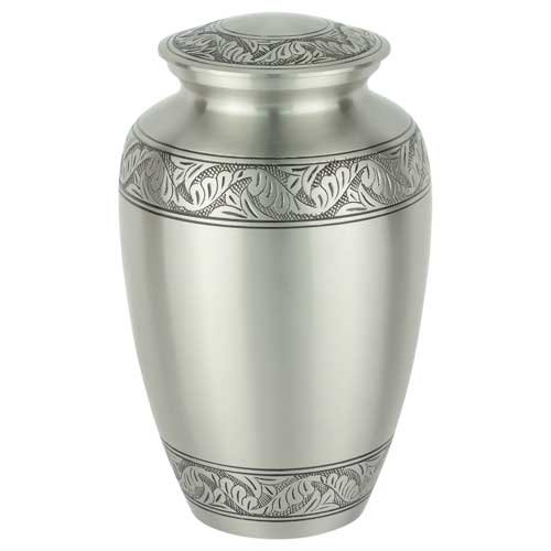 Silverlight Urns Classic Laurel Pewter Brass Cremation Urn for Human Ashes, Silver 10.25 Inches High, Adult Sized Funeral (Pewter Urn)