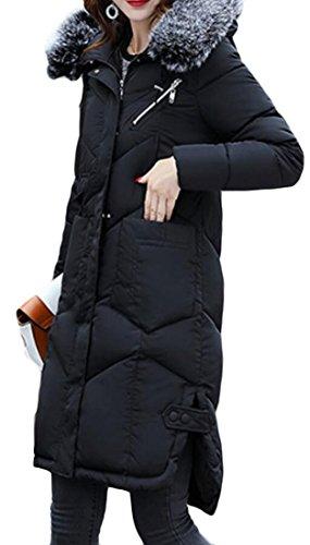 Warm Outwear Fur Women's Down Black Jackets Puffer M Collar amp;S amp;W w4OntC
