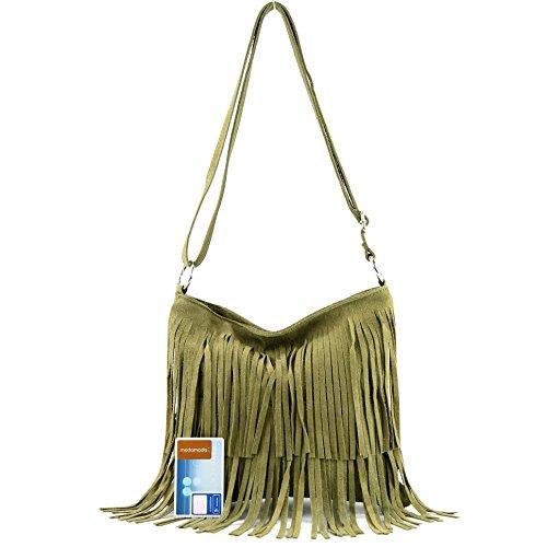 Bolso de piel italiano, bolso para colgar, bolso para el hombro, ante T125 Verde oliva