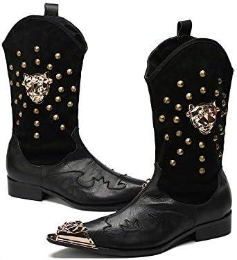 Wensa Zapatos de Cuero Puntiagudos para Hombre, Botas de Vaquero ...