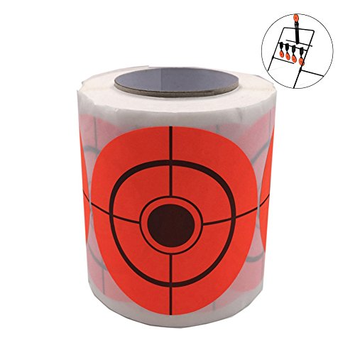 (CyberDyer Orange Self-Adhesive Shooting Targets 3-Inch Bullseye Target Stickers for BB Gun Airsoft Paintball Archery Shooting Aiming Training (1 Roll / 250 Targets))
