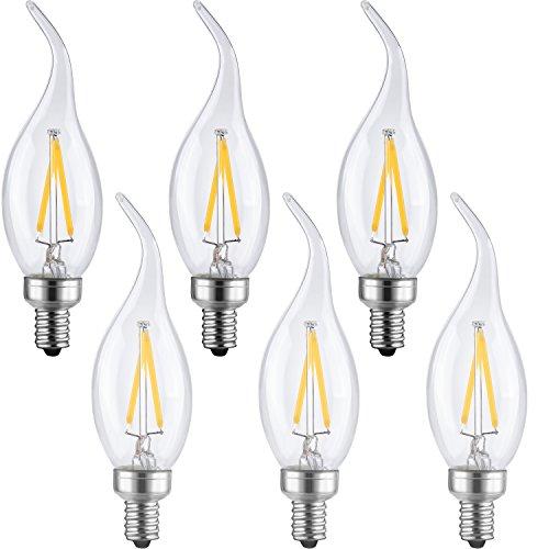 LETO CA11 Candelabra LED Bulbs 2W,UL Listed-20W Light Bulbs Equivalent,LED Warm White 2700K decorative light bulbs,6-Pack