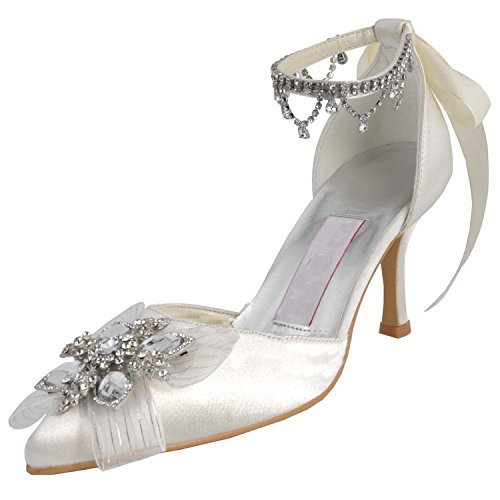 Pumps Shoes Rhinestones Prom Womens Ivory Evening Satin Wedding MZ547 Chains Party Minitoo w61zq1