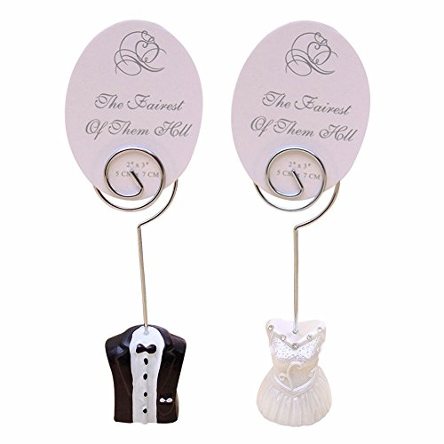 C-Pioneer 2pcs Bride and Bridegroom Wire Wedding Table Number Place Card Holders Birthday Party Decoration Favors (Place Pair Card Silver Holders)