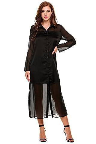 Zeagoo Women Button-Front Sheer Chiffon Dress Side Slit Maxi Shirt Dresses(Black,XL) - Hot Sexy Black Formal Dress