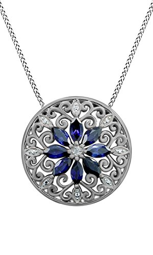 925 Sterling Silver Simulated Blue Sapphire & Natural Diamond Filigree Medallion Pendant Necklace (Medallion Filigree)