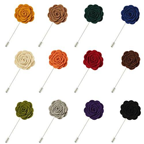 FM FM42 Men Multi Colors Rose Flower Lapel Stick Handmade Boutonniere Pin for Suit (Pack of 12)