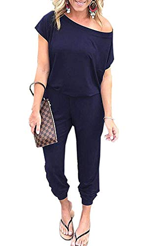 Cotton Two Piece Romper - ECHOINE Womens Summer Casual Off Shoulder Short Sleeve Loose Jumpsuit Rompers with Pocket Navy Blue