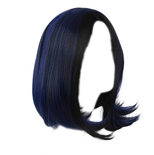Xcoser Titan Raven Cosplay Wig Black Purple Straight Hair for Women (Raven Wig Black)