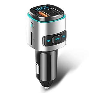 ELEGIANT Transmisor FM Radio Bluetooth Coche, Cargador QC 3.0 Inalámbrico para Automóvil Adaptador Manos Libres Doble Puerto USB Compatible con USB Compatible para Dispositivos iOS y Android