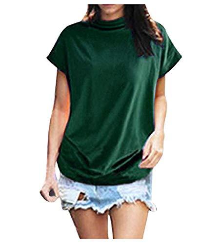 (VLDO Sweatshirts for Women Casual Loose Linen Soild Lace Splice Button Short Sleeve Tops (5X-Large, Green))