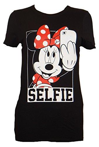 DIsney Minnie Mouse Selfie Juniors T-shirt (Large, Black)