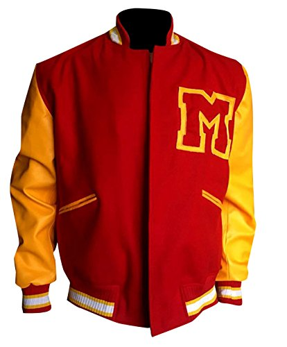 Michael Jackson Thriller Red & Yellow M Logo Letterman Bomber Varsity Jacket ()