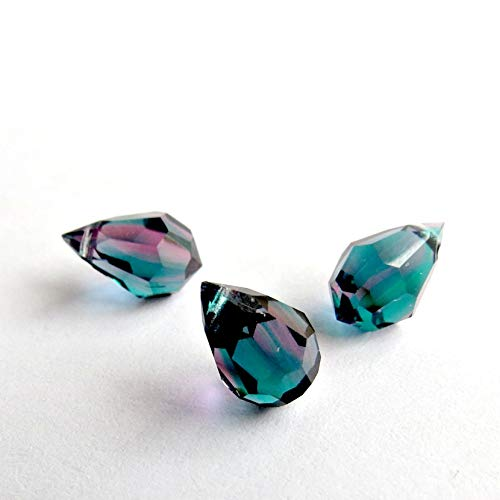 10 pcs Thistle Turquoise Violet Glass Faceted Teardrop Briolette Beads, Top drilled Faceted briolette 10mm