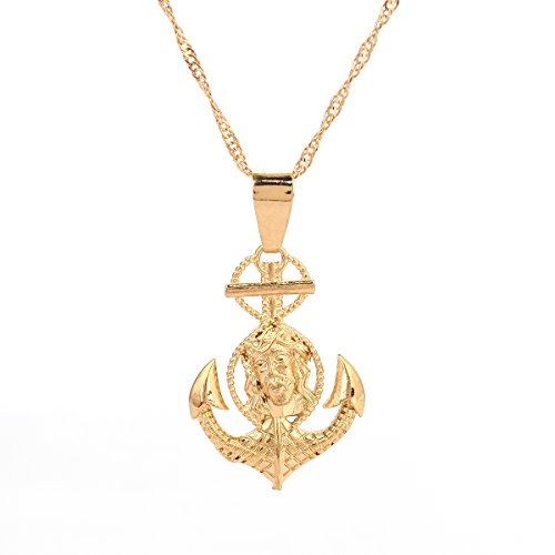 Jesus Cross Anchor (24K Gold Plated Jesus Cross Anchor Pendant Jewelry)