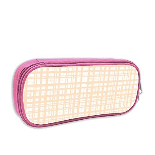 Blissful Plaid in Peach Bliss Design Studio_3133 Pencil Case,Big Capacity Pen Bag Makeup Pouch Durable Students Stationery Pouch Zipper Closure ()