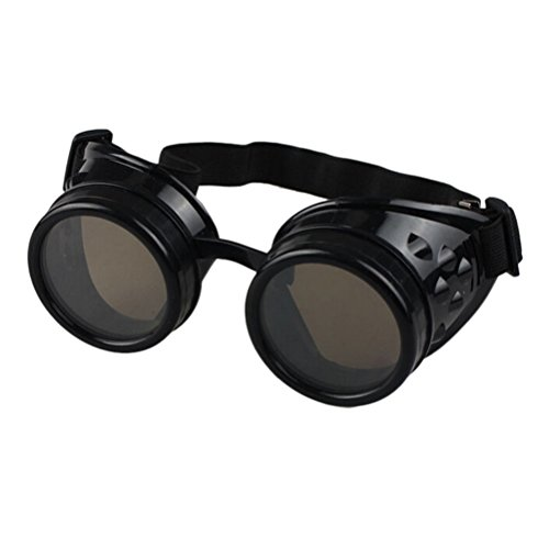 (New Retro Gothic Steampunk Goggles Glasses Welding Cyber Punk Vintage Sunglasses Plastic Adult Cosplay Eyewear Party Mask)
