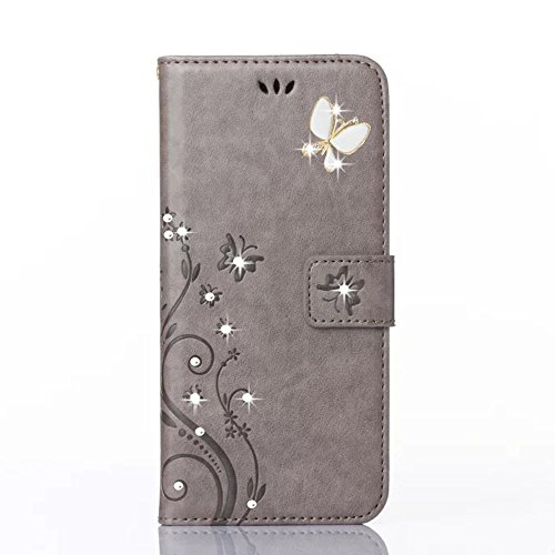 HAOTP Luxury 3D Fashion Handmade Bling Crystal Rhinestone Butterfly Fashion Floral PU Flip Stand Credit Card ID Holders Wallet Leather Case Cover for Samsung Galaxy S4 Mini I9190 (Bling/Gray)