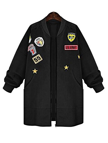 Military Blazer Badges (ETCYY Women's Plus Size Army Badges Embroidered Studded Parka Jacket Coat)