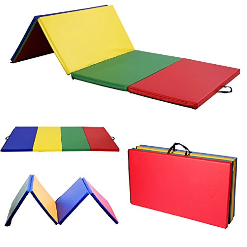 Reliancer 4'x10'x2″ Multicolor Exercise Gym Mat Thick Folding Panel Fitness Exercise Mat For Gymnastics Aerobics Yoga Martial Arts