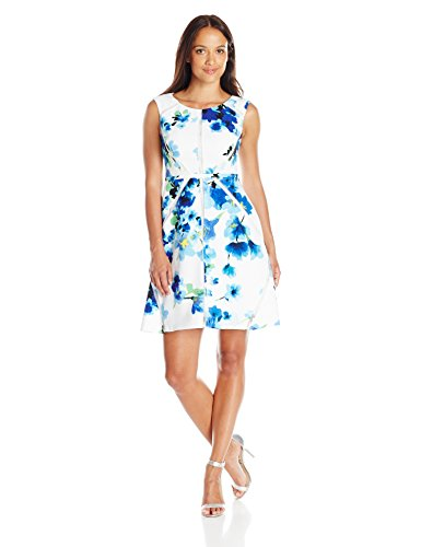 Adrianna Papell Womens Petite Fit and Flare Splice Dress
