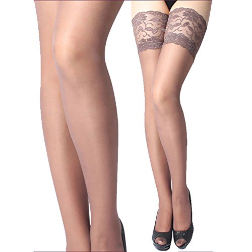 ONEFIT Socks, Sexy Womens Lace Top Silicone Band Thigh High Stockings Pantyhose, One Size, Brown (Hosiery Sexy)