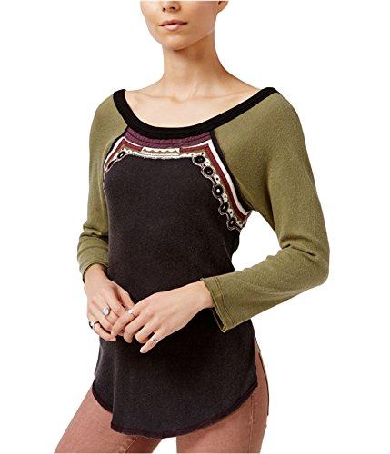 Free People Womens Ritu Embellished T-Shirt Black L