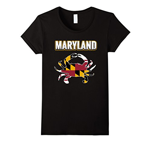 Womens Crab Maryland Flag T Shirt Medium Black