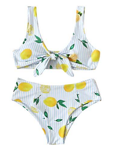 (SweatyRocks Women's Sexy Bikini Swimsuit Detachable Tie Knot Front Lemon Print Bathing Set Z#Lemon M)