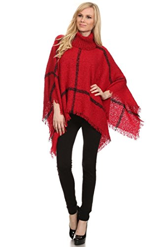 ICONOFLASH Women's Plaid Turtleneck Chenille Knit Poncho Sweater, Festive Red