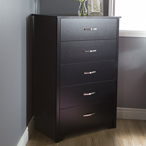 South Shore Fusion 5-Drawer Chest, Pure Black (Tall Dresser Bedroom)