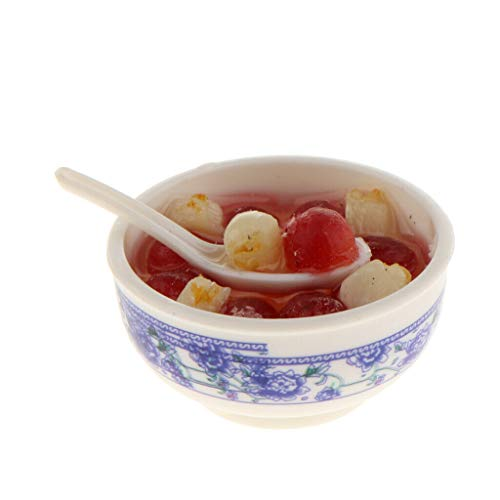 NATFUR Dolls House Miniatures Food Kitchen Accessories Red Bean Coix Seed Porridge from NATFUR