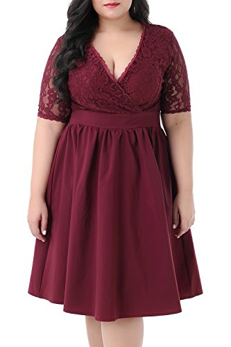 Nemidor Women's Half Sleeves V-Neckline Lace Top Plus Size Cocktail Party Swing Dress (Wine Red, 20W)