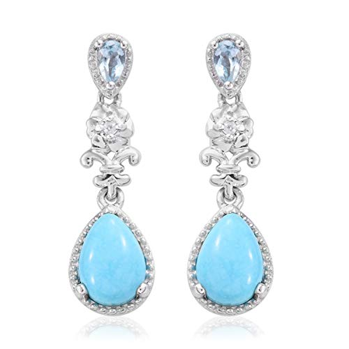 Dangle Drop Earrings 925 Sterling Silver Platinum Plated Sleeping Beauty Turquoise Sky Blue Topaz Gift Jewelry for Women
