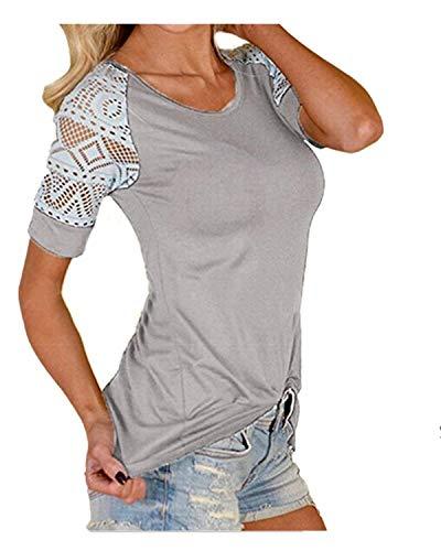 Taille Elgante Shirts T Rond Shirt Dame Fit Slim Chic Splicing Tops Chemisiers Basic Classique Haut Fille Grau Col Manches Mode Femme Courtes Dsinvolte Grande xp455wqT0